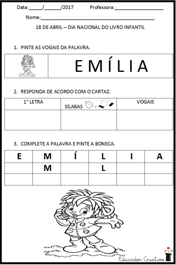 Atividade com vogal - letra E - escola - educador criativo