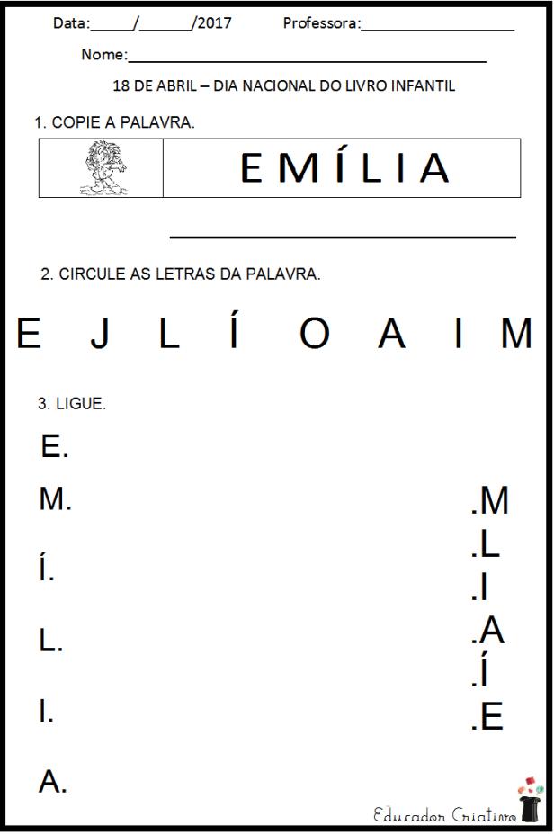 ATIVIDADE LETRA E - EMILIA -EDUCADOR CRIATIVO -ATIVIDADE - ESCOLA CASA